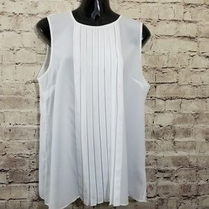 Michael Kors White Sleeveless Pleat Blouse
